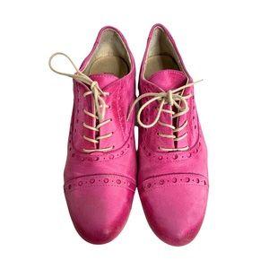 Batix Pink Vintage Suede Brogue Wingtip Oxfords 7